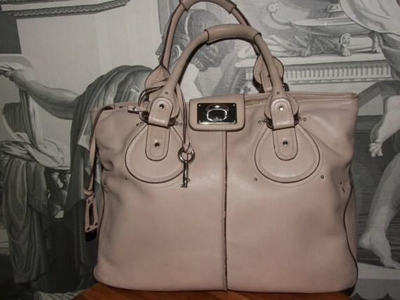 CHLOE Made in Italy Authentic monogram beige leather shoulder handbag with contrast stitching and silver metal buckles