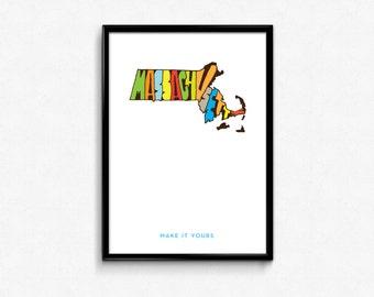 Massachusetts Typography Map, Massachusetts, Massachusetts Poster, Massachusetts Print Art, Map Poster, Digital Print, Cool Print Art