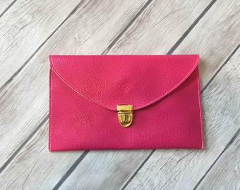 SALE!!! Monogrammed leather clutch purse with optional shoulder chain!