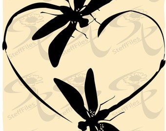 0295_DRAGONFLY Vector Dragonfly Love_heart_clipart_valentines,SVG,DXF,ai, png, eps, jpg,Silhouette,Download files,Digital, graphical