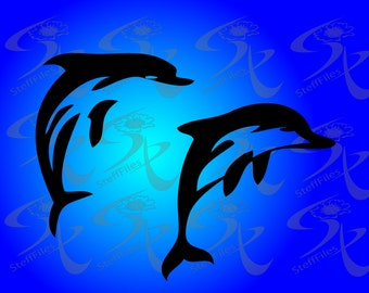 0267_DOLPHINS Swimming Dolphins,SVG,DXF, AI, png, eps, jpg,silhouettes vector Download files, Digital, graphical