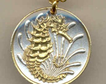 "Singapore ""Seahorse"",  Coin Necklace, Gorgeous 2-Toned ""Gold on Silver"""