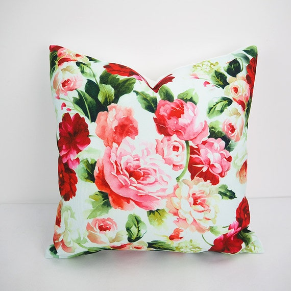 Floral pillow Red pink pillow 18x18 Throw pillow by HomeDecorYi