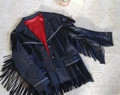 Black Leather Fringe Jacket, Fringe Coat, Fringe Jacket, Black Fringe, Western, Boho Coat, Size Small, Size Medium, Embroidered