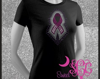 Hope Cure Ribbon Rhinestone Transfer OR T-Shirt *Portion of price donated to American Cancer Society*