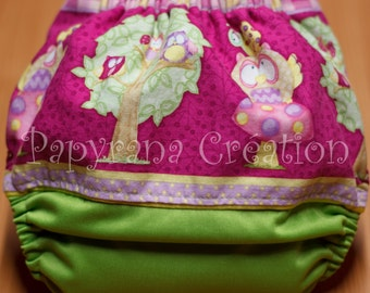 AI2  Adjustable Owls cloth diaper with snaps / one-size / Pocket Cloth diaper Feathers
