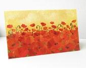 Hand-painted greeting card Handmade holiday card Poppy art Greeting card with poppies Card for girlfriend Floral Birthday card Art card