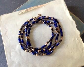 Lapis lazuli and pyrite cuff