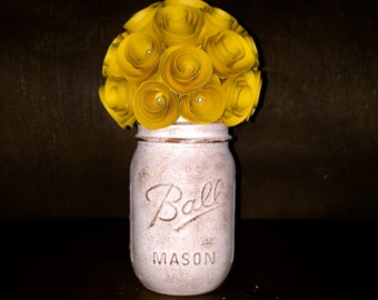 Rustic Yellow Paper Rose Bouquet! In A hand-Painted Cream & Sponged Brown Mason Jar!