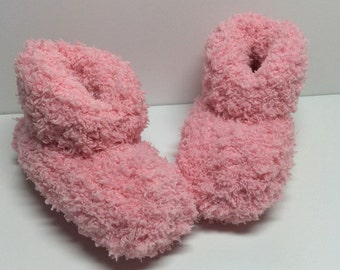 Ultra Soft Hand Knit Baby Booties - Pink