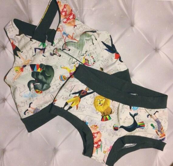 Circus vintage bra and Panty Set, Womens Panties, Elephant, circus Plus Size Panties, \ Briefs Boyshort Thong, Brazi, Custom Scrundie, Sport