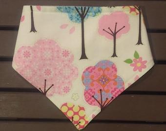 Pink tree bandana bib, pink tree bib, tree bibdana, pink drool bib, pink tree baby gift, pink tree baby shower.
