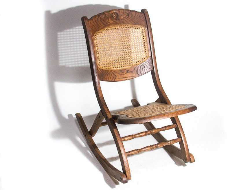 Antique Rocking Chair Hand Carved Solid Oak Folding Rocker Caned Back And  Seat Rare Unique Vintage Seating Porch Sewing Nursing Rocker - Antique Rocking Chair Hand Carved Solid Oak Folding Rocker Caned