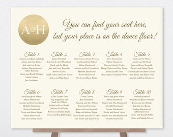 Wedding Seating Chart Sign DIY / Gold Sparkle Wedding Sign / Metallic Gold and Cream / Seating Sign ▷ Printable File {or} Printed & Shipped