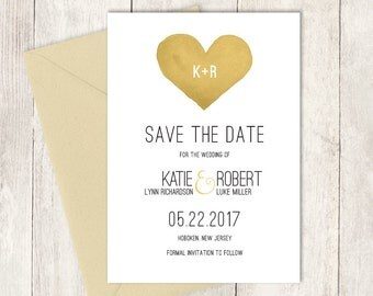 Modern Save The Date / Whimsical Lettering Wedding Card, Gold Heart, Watercolor Heart ▷ Printed Wedding Invitations {or} Printable