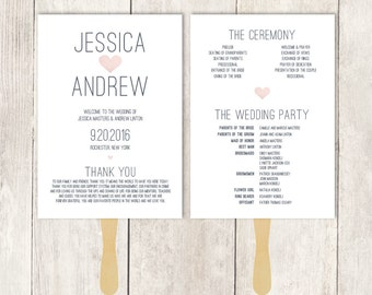 Wedding Program Fan DIY / Wedding Fan / Gray and Blush Watercolor Heart / Destination Wedding ▷ Printable {or} Printed *** ASSEMBLY REQUIRED