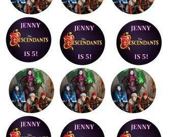Disney Descendant cupcake toppers Stickers LABELS party favor Instant Download Printable Digital FIle