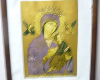 French Photo Frame 1942 with Reigious gold  gold print