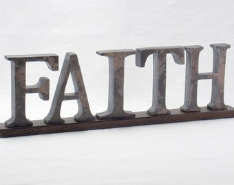 FAITH Sign - Wooden Letters - Wood Letters - Word Art Wood Sign - Wooden Word Sign - Mantel Decor -  Word Art - Words - Wood Sign