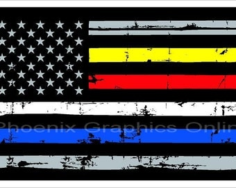 Thin Gold Line Yellow Line Police Fire EMS Dispatched Flag Distressed Reflective Decal  #6181