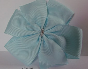 Baby Blue boutique style Pinwheel Bow