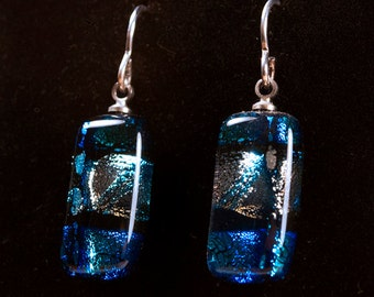 Dichroic Glass Rectangle Earrings on French Wire Blue Silver Stripe
