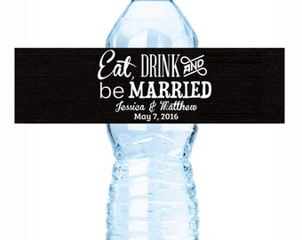 20 Black Background Eat Drink and Be Married Wedding Water Bottle Labels - Color Coordinated Wedding Water Bottle Labels - Wedding Decor