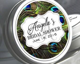 Custom Bridal Shower Favor Mint Tins - 12 Peacock Theme Wedding Decor - Personalized Tin Mints - Wedding Mint Tins - Bridal Shower Mint Tins
