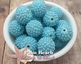 Ten (10) pcs Chunky 20mm Bubblegum Acrylic AQUA AB Effect Bumpy Raspberry Berry Pearls Beads -10pcs