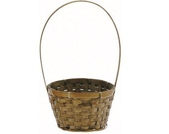 "Brown Flower Girl Basket - Natural Bamboo 6"" Flower Girl Basket"