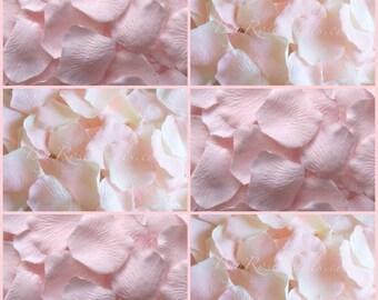 Hint of Pink Petal Blend - 1,000 Silk Rose Petals for Weddings, Flower Girl Baskets