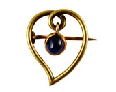 Antique Russian Witch's Heart Brooch with Sapphire Cabochon Drop, c1890