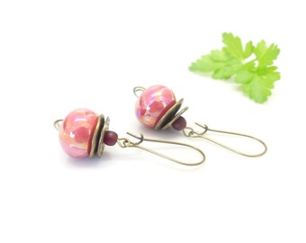 Earrings ceramic red iridescent ~ the winter cherries ~.