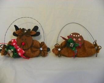 Reindeer or Gingerbread Man Christmas Ornament
