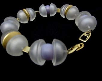 space age modern Napier bracelet | frosted acrylic bead goldtone | designer 80s glam futuristic new wave statement lavender purple frosted