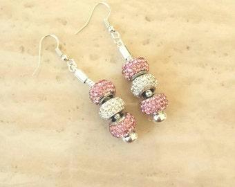 Pink White Silver Rhinestone Beads Dangle Drop Earrings