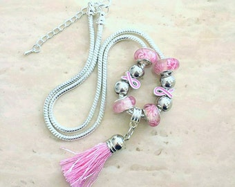 Pink Ribbon Tassel Charm Lampwork Beads Silver Plated Necklace 19-21 Inches