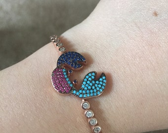 Genuine Silver Bracelet with crystal bead, slider claps...Crab Bracelet Jewelry