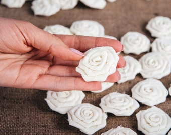 Wholesale Ivory Flower Rosette Bridal Flower Appliqué Rolled Rosette Flower DIY bridal bouquet Ivory roses Hair clip flowers