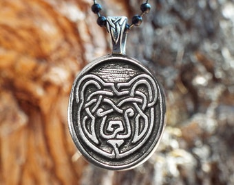 "Bear Necklace - Celtic Bear Pendant in Fine Pewter - ""Strength Compassion Courage Wisdom"" Celtic Knot Bear Pewter Pendant - Viking Bear"