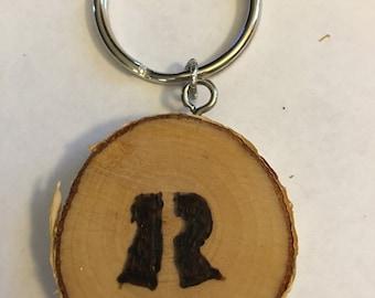 Keychain, purse charm, pendant, wood burned, personalized, pyrography