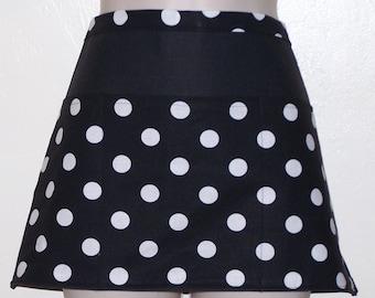 Handmade server waitress half apron white polka dots on black with three pockets 6388
