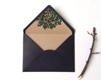 Botanic succulent envelope liner, Watercolor Succulent, envelope liner Printable, DIY Succulent envelope liner, A6 envelope, A7 envelope