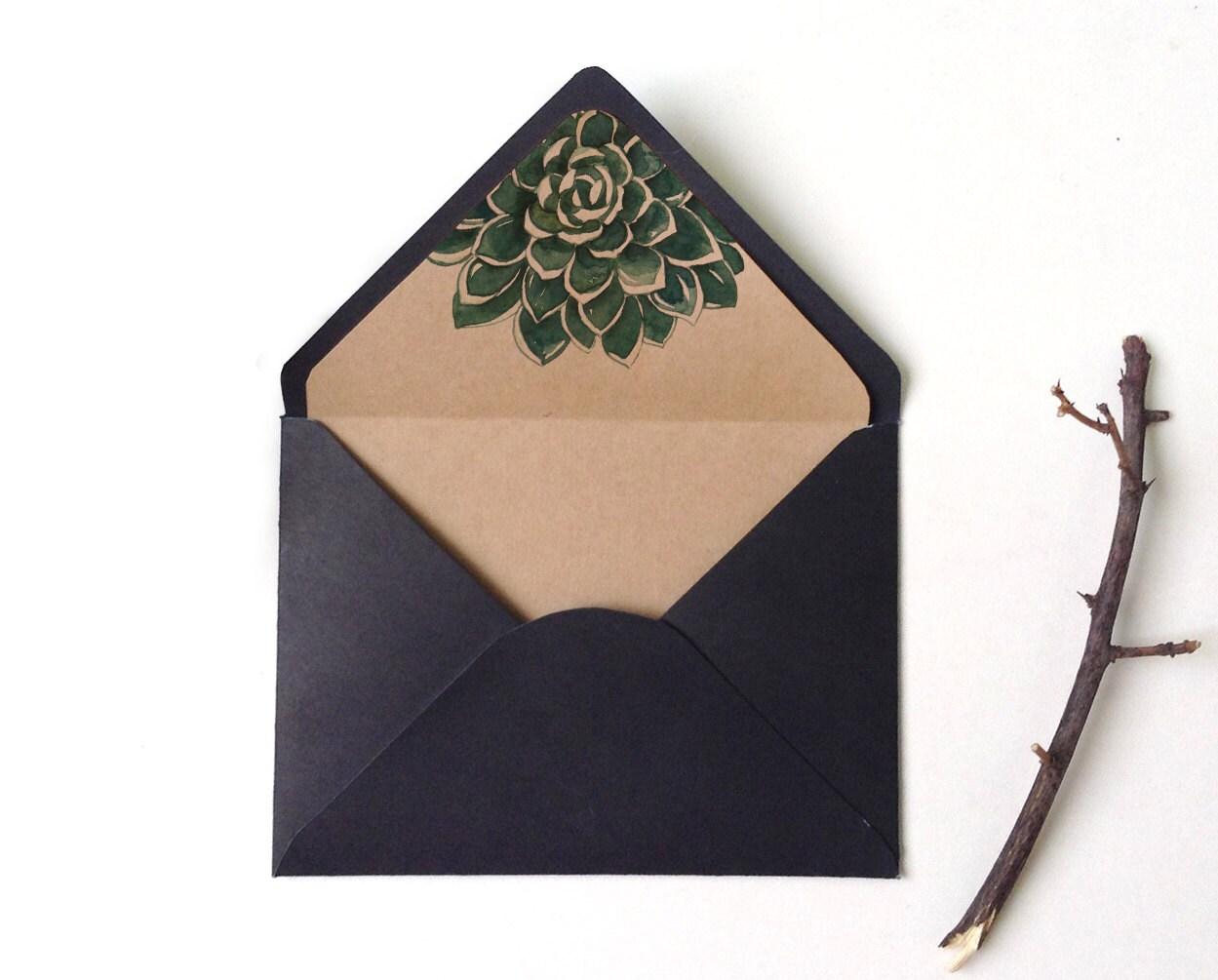 Botanic succulent envelope liner Watercolor Succulent