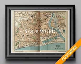 Vintage map of Swansea, Wales (genuine 1953 antique) handcut with custom personalized words