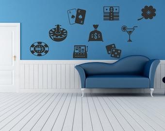 Wall Vinyl Sticker Decals Mural Room Design Pattern Art Decor Poker Casino Card Game Money bo2154