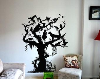 Wall Vinyl Sticker Decals Mural Room Design Decor Art Tree Fairy Tale Girl Animal bo2371