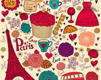 Colorful symbols of Paris in cartoon style.PARIS PRINT POSTER Fine art Prints giclee. Beautiful print for Living  room or kids.