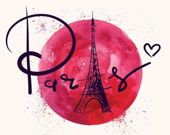 The EIFFEL TOWER in PARIS with watercolor background. Fine art prints. Beautiful print for living room, bedroom.