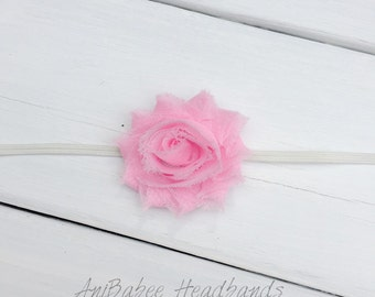 Pink flower headband, shabby flower baby headband, flower headband, baby headband, infant headband, Newborn Headband